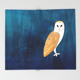 Barn owl (Tyto alba) Throw Blanket