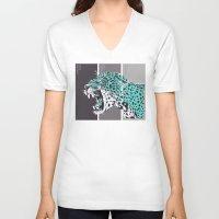 jaguar V-neck T-shirts featuring jaguar by aceta