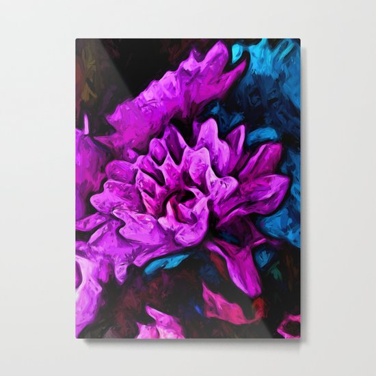 Lavender Flowers with Blue Petals and some Pink Metal Print