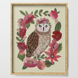 Floral Owl Serving Tray