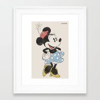 minnie mouse Framed Art Prints featuring Minnie Mouse by Adel