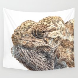 Chameleon With Sinister Facial Expression Isolated Wall Tapestry