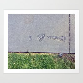i heart--nevermind sidewalk concrete etching photograph by cecilia lee Art Print
