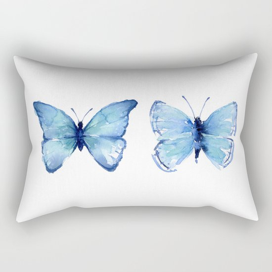 Two Blue Butterflies Watercolor Animals Insects Rectangular Pillow