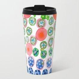 Playful Green Stars and Colorful Circles Pattern Travel Mug