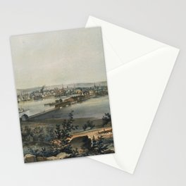 Vintage Pictorial Map of New Haven CT (1849) Stationery Cards