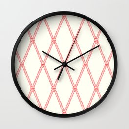 Nautical Fishing Net (Beige and Coral) Wall Clock