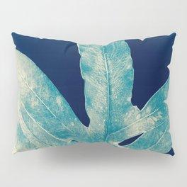 Green Fern at Midnight Bright, Navy Blue Pillow Sham