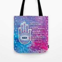 Hamsa Prayer Tote Bag