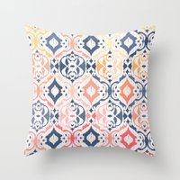 damask Throw Pillows featuring Tropical Ikat Damask by micklyn