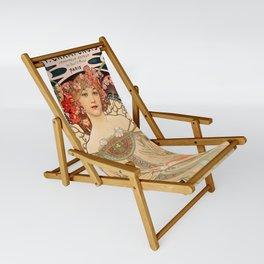 Mucha Daydream Art Nouveau Edwardian Woman Floral Portrait Sling Chair