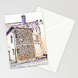 Camerata Nuova: glimpse of the buildings with two street lamps and chimney Stationery Cards