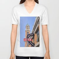 cleveland V-neck T-shirts featuring Cleveland West Side Market by TiffanyOneillPhotography