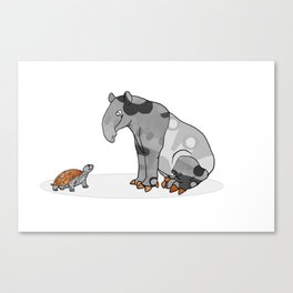 Tapir meets Turtle, Cute Animal Illustration, Black & White with Copper Metallic Accent Funny Turtle Canvas Print
