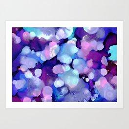 Late Night Dance Party Bokeh - Blue, Purple, Pink Ink Art Print