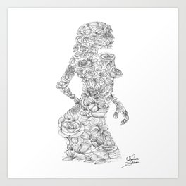 Lady of Roses Ink drawing Art Print
