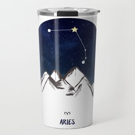 Astrology Aries Zodiac Horoscope Constellation Star Sign Watercolor Poster Wall Art Travel Mug