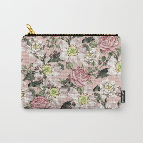 Vintage Rose Pattern Pink Carry-All Pouch