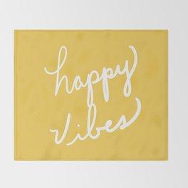 Happy Vibes Yellow Throw Blanket