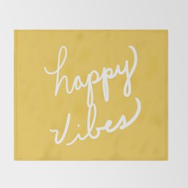 Happy Vibes Yellow Throw Blanket