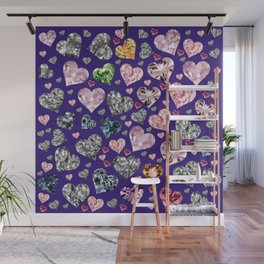 Heart Diamonds are Forever Love Violet Wall Mural