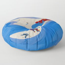 Vintage Winter Sports in France Travel Floor Pillow