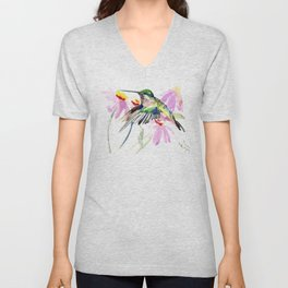 Hummingbird and Light Purple Flowers, birds and flowers Unisex V-Neck