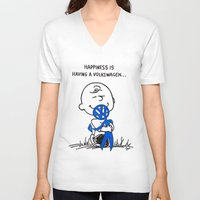 volkswagon V-neck T-shirts featuring Happiness is  by BulldawgDUDE