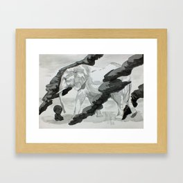Wind and Elephant Framed Art Print