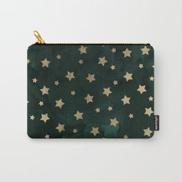 Modern gold christmas stars geometric pattern green watercolor Carry-All Pouch