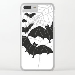 Black Bats with Spider Web Halloween Clear iPhone Case