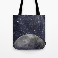 Mystic Galaxy Constellation Moon Stars and Cosmic Space White Tote Bag