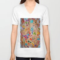 egyptian V-neck T-shirts featuring Egyptian papyrus by Sandra Angelini