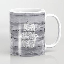 White hand drawn Hamsa hand of fatima on wood  Coffee Mug