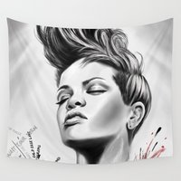 rihanna Wall Tapestries featuring Rihanna by C.Love Designs