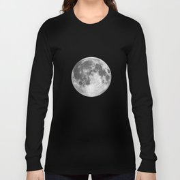 Full Moon print black-white photograph new lunar eclipse poster bedroom home wall decor Long Sleeve T-shirt
