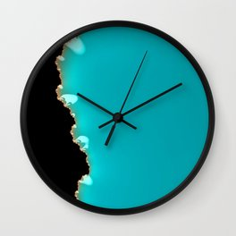 Creeping Teal with a Gold Edge Wall Clock