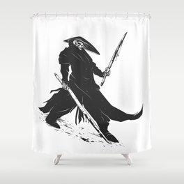 Samurai skull - japanese evil - black and white - fighter illustration - grim reaper cartoon Shower Curtain