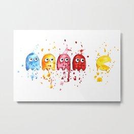Watercolor PacMan Metal Print
