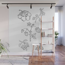 Fruit Variety Study Design — Mixed Fruits Illustration — Strawberry and other Fruits Design Wall Mural