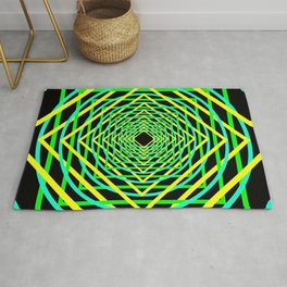 Diamonds in the Rounds Blacklight Neons Yellow Greens Rug