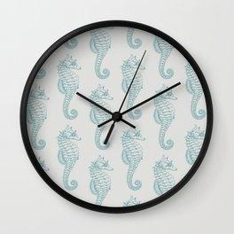 Tropical Seahorses (Seahorse Pattern) - Blue Wall Clock