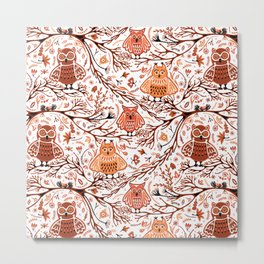 Cute Owls in Fall on Tree Branches Metal Print