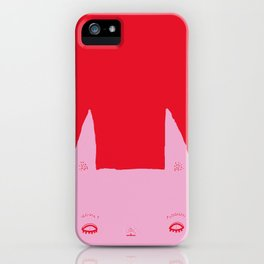 rabbit very determined (pink) iPhone Case