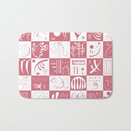 Kandinsky - White and Rose Pattern - Abstract Art Bath Mat