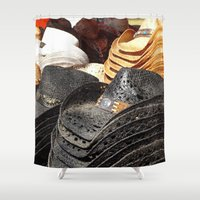 hats Shower Curtains featuring Cowboy Hats - Grunge by Tiffany Dawn Smith