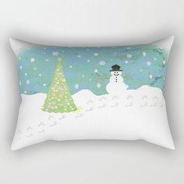 Snowman on Christmas Day Rectangular Pillow