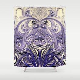 Blue Oil Gestalt Abstract III Art Shower Curtain