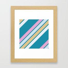Pink White and Blue Stripes Framed Art Print