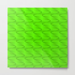 Modern stylish texture with iridescent triangles and green squares in zigzag shapes. Metal Print